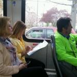 Lauren, CC, Jim on bus