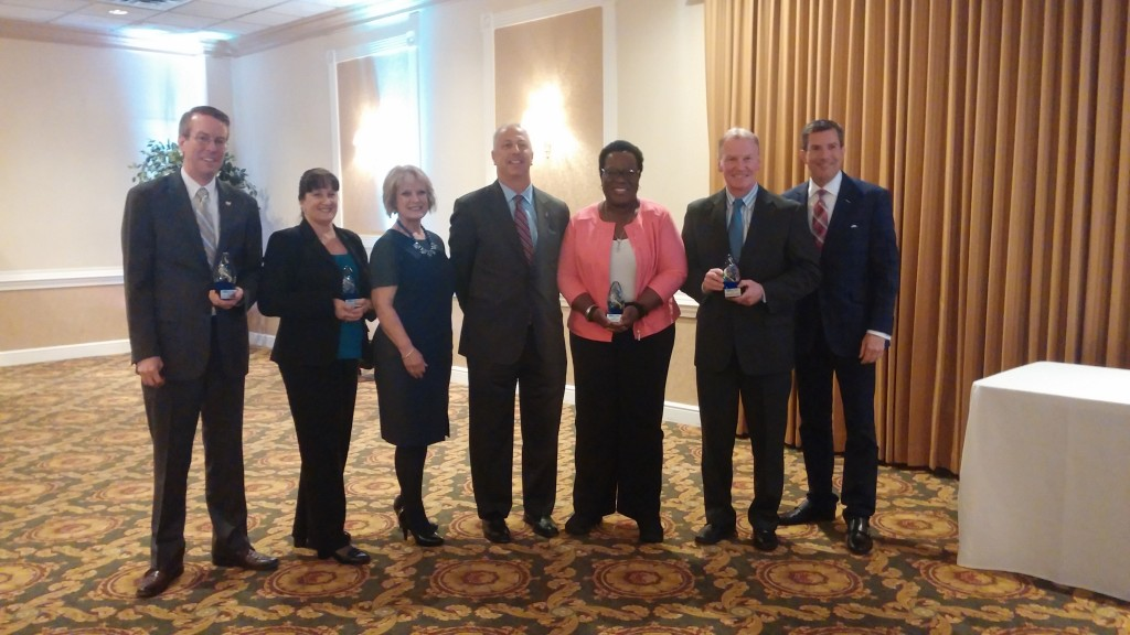 L to R: Steve Cunningham, Jacobs Engineering; Donna Higgins, Boeing; Cecile Charlton, DCTMA; Dennis Wolf, Republic Bank; Sade Lewis, PHL Airport; District Attorney Jack Whelan, Delaware County; Bob Kelly, FOX29 Traffic Anchor